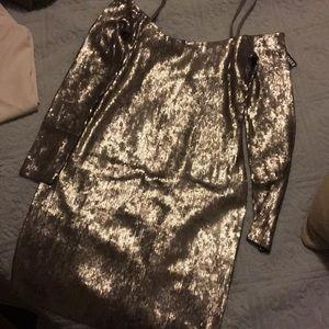 Silver mini sequin dress